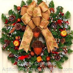 Country Christmas Wreath - 2014 - Our classic Country Christmas Wreath is sure to add a touch of old fashioned Country charm! - #CountryChristmasWreaths