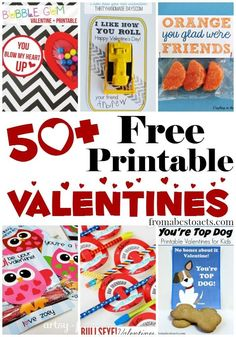 With over 50 free printable Valentines for kids, this list has some seriously cute ideas for handing out both sweets and candy-free treats this Valentine's Day!