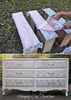 Lace dresser drawers spray paint