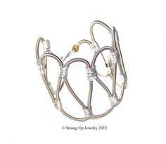 Recycled Bass Guitar String Wire Wrapped Cuff: original exclusive design