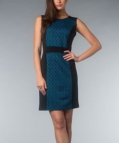 Take a look at this Teal & Black Geometric Dress by AA Studio on #zulily today!
