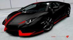 #Lamborghini Aventador LP700-4-- Matte #black and red...... Love the color scheme, could do this to my corvette