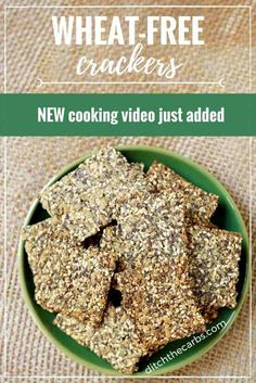 """Watch the quick cooking video """"How to make wheat free crackers"""". An easy recipe for amazing grain free, gluten free and low carb crackers.   ditchthecarbs.com via @ditchthecarbs"""