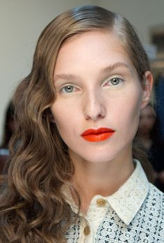 Loose waves and natural make-up with a red lip from Creatures of the Wind SS14. http://www.dazeddigital.com/fashion/article/17052/1/creatures-of-the-wind-ss14