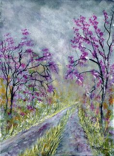 Red bud trees after the spring storm by WindingRoadGallery on Etsy