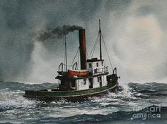 Tugs Painting - Steam Tugboat Katadin by James Williamson