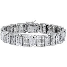 "Men's Fancy Sterling Silver .925 Bracelet with Channel-Set Princess and Round Cubic Zirconia (CZ) Stones, Box Lock, Platinum Plated. Sizes 8"" 9"". By Sterling Manufacturers (8.00)"