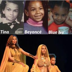 Blue Ivy | This isn't the first time Beyonce's mom has pointed out the family's strong female genes. Shortly after her cameo in her daughter's performance at the GRAMMYs in February, Tina shared a a comparison photo of herself, Beyonce, and Blue as children.