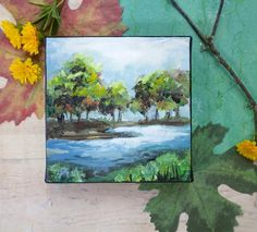 "Abstract landscape painting, wall art on canvas, housewarming gift, inspired by nature, ""Riverside"" Canvas Painting Landscape, Artist Painting, Original Paintings, Canvas Art, Wall Art, Inspired, Gift, Nature, Handmade"