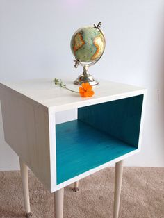 The Side Table... MCM Mid Century Modern Side Table inWhite and Turquoise / Furniture Midcentury Bed Side Table End Table on Etsy, $175.00