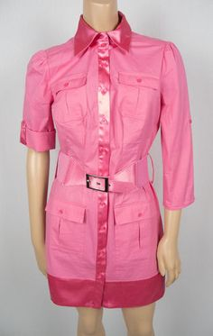 2B BeBe Pink Shirt Dress S Wide Belt Sexy Adjustable Roll Up Sleeves