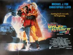 Back to the Future II UK, 1989 - original vintage film poster by Drew Struzan for the award winning movie presented by Steven Spielberg, directed by Robert Zemeckis and starring Michael J. Fox as Marty McFly and Christopher Lloyd as Doctor Emmett Brown, listed on AntikBar.co.uk #BackToTheFuture #BTTF