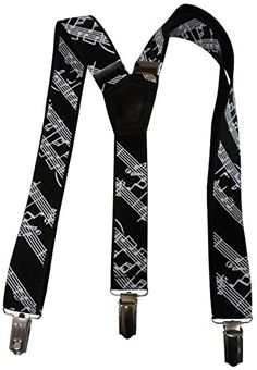 Small Pin Clip SuspenderStore Mens White Music Notes on Black Suspenders