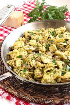 Skillet Tortellini with Sausage and Pesto | The Suburban Soapbox