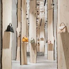 """VALEXTRA, Via Manzoni, Milan, Italy, """"The Forest"""", creative by Japanese architect Kengo Kuma, pinned by Ton van der Veer"""