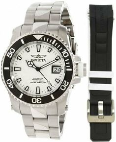 Invicta Pro Diver Automatic Interchangeable Mens Watch 11215 Invicta. $149.00. White Sunray Dial. Interchangeable Black Polyurethane Strap. Exhibition case back. Japanese TMI NH35A Automatic movement. Silver-tone stainless steel case