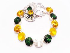 SWAROVSKI CRYSTAL BRACELET green bay packers, green and yellow, packers, football, team colors, great gift, dksjewelrydesigns