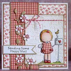 Sending Happy Mail - she''s adorable in red plaid. and really like the vine on the side.