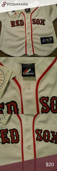 Brand new toddler red sox jersey Brand new with tags, smoke free, pet free home.  Going to a ball game this, Spring? Love the red sox? Why not dress your sweet little toddler in this, adorable team jersey. genuine merchandise majestic  Shirts & Tops Button Down Shirts