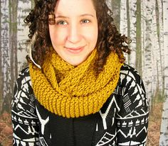 Cuddle up and stay warm this winter with this textured accent cowl. It knits up quickly and easily with a bulky yarn. It's perfect for a stroll around town or in the woods.