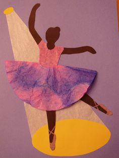Edgar Degas was out featured artist for December. We painted dresses and skirts using water color and coffee filters. The spotlight was white tissue paper.