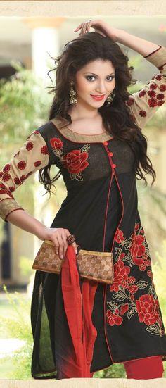 Black Cotton Churidar Kameez with Dupatta