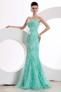 fancyflyingfox.com Offers High Quality Romantic Strapless Teal Blue Lace Sheath Maxi Evening Dress,Priced At Only US$189.00 (Free Shipping)