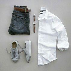 "Gefällt 740 Mal, 5 Kommentare - CAPSULE WARDROBE (@capsulewardrobemen) auf Instagram: ""White Shirt For The Weekend? . . Brands ⤵ Shirt: @kohls Jeans: @roarkrevival Shoes: @converse…"""
