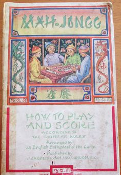 Vtg. 1920s Mahjong How to Play and Rules Booklet, Jaques & Sons, London,