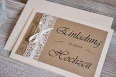 Einladungskarten - Einladung Hochzeit Vintage mit Häkel-Spitze (Nr.5) - ein Designerstück von Velvet-Design bei DaWanda