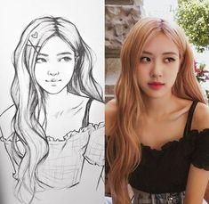 Pink Drawing, Cute Girl Drawing, Portrait Sketches, Art Drawings Sketches Simple, Pencil Art Drawings, Drawing Art, Anime Drawing Styles, Kpop Drawings, Arte Sketchbook