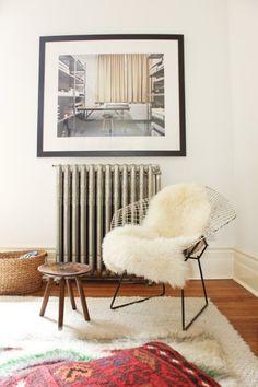 Sessel Überwurf Fell-weiß geometrisches-Dekor Wandgemälde