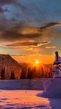 Winter sunset mountains