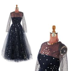 Vintage 1960's Victoria Royal Midnight Blue Sheer Tulle + Silver Sequin Illusion Evening Prom Cocktail Dress M