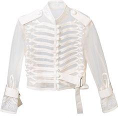 Sacai Transparent Military Jacket ($1,145) ❤ liked on Polyvore featuring outerwear, jackets, white, sacai, army jacket, mandarin collar jacket, white jacket and long sleeve jacket