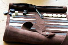 Echtleder Reisebackgammon // leather etui, travel game, backgammon via DaWanda.com // 29.90€
