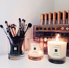 Beautiful makeup brushes and Jo Malone candles. Learn on Youqueen.com how to properly clean your makeup brushes.