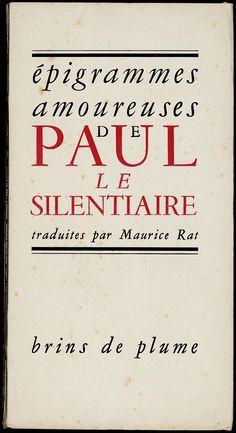 Couverture de Paul le Silentiaire, Épigrammes amoureuses (1945)