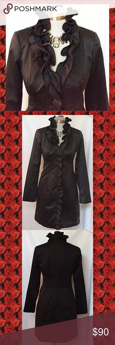 White House Black Market black satin, evening coat This is so beautiful. Perfect topper for all your dressy occasions. Great over a short dress too! Coat snaps closed. New condition. Satin fabric has, semi shiny. White House Black Market Jackets & Coats