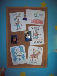 Toy story bulletin board. SO CUTE! I have even found some Toy Story printables just like these. :)