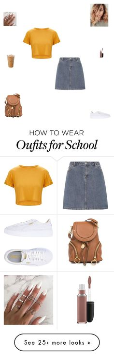 """High school senior"" by synclairel on Polyvore featuring A.P.C., Puma, See by Chloé, MAC Cosmetics, cute, casual, school and ootd"