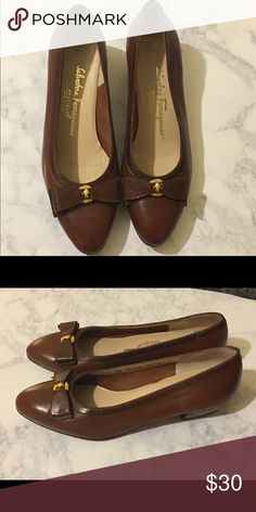 Salvatore Ferragamo Brown Leather Bow Shoes Size 8 Vintage Salvatore Ferragamo brown leather shoes size 8, minor scuffs or scratches, look at pics for reference but over all in awesome condition. Salvatore Ferragamo Shoes Flats & Loafers