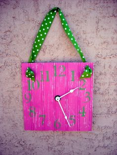 20 Unusual and Creative DIY Clocks - this one w/ turquoise and zebra ribbon.