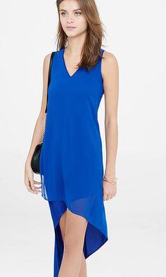 Express deep V asymmetrical dress