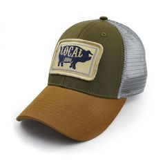 70e7dd22 Everyday Trucker Hat, Structured, Local BBQ Pig, Olive at Amazon Men's  Clothing store