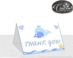 Whale Blue THANK YOU card, baby shower boy nautical blue theme printable, digital files, jpg pdf, instant download - wbl01 #babyshowergames #babyshower