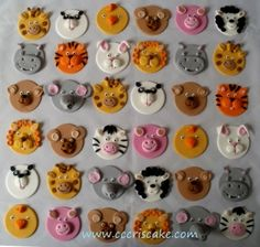 Animal Cupcake toppers with fondant