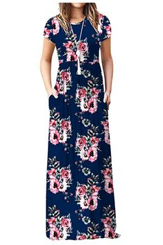 Flower Girl Dresses - Women Short Sleeve Loose Plain Maxi Dresses Casual Long Dresses With Pockets Maxi Dress With Sleeves, Floral Maxi Dress, Maxi Dresses, Summer Dresses, Long Dresses, Modest Dresses, Prom Dress, Summer Outfits, Dresses For Teens