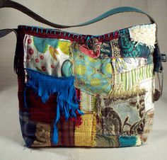 Chic & Hip, One of a kind, Handmade, Medium sized, Collage fabric Tote bag.