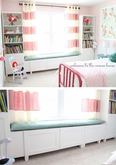Perfect curtains.  Love the bookshelves on either side of the window with seat underneath. Put bunk bed on opposite side.   BAM!  That's what I want to do with the girls room